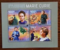 CENTRAFRIQUE, Marie CURIE, Feuillet 4 Valeurs De 2014. Bloc Oblitéré, Used - Femmes Célèbres