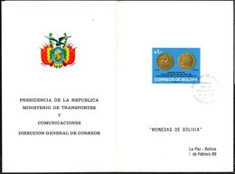 "Bolivia 1989 CEFIBOL 1331335T  Tarjeta Commemorativa ""Monedas De Bolivia"" 1852 ""un Cuartillo"" De Oro. - Bolivie"
