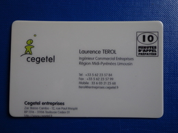 CARTE PREPAYEE TRES RARE CEGETEL / INTERCALL 10MN CARTE DE VISITE CEGETEL 31/08/98 ERREUR CENTRAGE - Prepaid Cards: Other