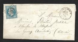 Cote D'Or-Lettre (De Saint Broing Les Moines)-Gros Chiffre 3093 De Recey Sur Ource -Cachet à Date Type 16 - 1849-1876: Période Classique