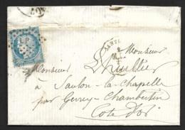Cote D'Or-Lettre Avec Cachet Convoyeur Station De Santenay-Losange LP Sur N°60 - 1849-1876: Période Classique