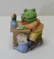 GRENOUILLE En Résine Assise à Un Bureau - Bibelot Animaux Grenouilles - Tiere