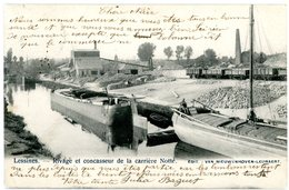 Lessines. Rivage Et Concasseur De La Carrière Notté. Péniches, Wagons. Circulé En 1903. Lessen. Aken, Wagens.Steenbreker - Lessines