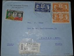 O) 1931 BRAZIL, FRANCA, VARGAS AND PESSOA SCT 347, GETULIO VARGAS AND JOAO PESSOA, REGISTERED FROM RIO DE JANEIRO TO FRA - Brazil