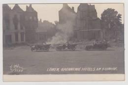 40686  -  Löwen  Brennende  Hotels Am  Bahnhof  -  Carte  Photobon état - Leuven