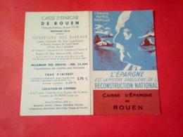 Petit CALENDRIER PÉTAIN 1942 CAISSE D'ÉPARGNE DE ROUEN  TRAVAIL PATRIE FAMILLE FAUTE Et Défaut D'impression - Calendarios