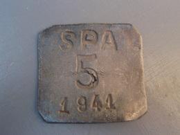 Plaque En Plomb SPA 5 1941 à Identifier. - Militaria
