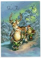 CHRISTMAS POSTCARD FINLAND - GNOMES - REINDEER - Artist Signed: PARTANEN - Noël