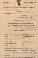 VP14.807 - BALE 1922 - Laboratorium Des Kantons - Chemikers Basel - Stadt - Bulletin D'Analyse D' Eau De Vie - COGNAC - Suisse