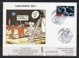 FRANCE - FDC - EPJ - LANCEMENT RG1 - ILLUSTRATION TINTIN - LIMITE A 1500 Ex - PREMIER JOUR 21/07/89 A KOUROU - 1 - - FDC