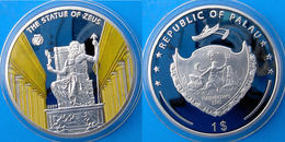 PALAU 1 $ 2009 SILVER PLATED PROOF THE STATUE OF ZEUS WONDERS OF THE WORLD WEIGHT 25,90g CONSERVAZIONE FONDO SPECCHIO UN - Palau