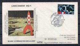 FRANCE - FDC - EPJ - LANCEMENT RG1 - ILLUSTRATION TINTIN - LIMITE A 1500 Ex - PREMIER JOUR 21/07/89 A KOUROU - 2 - - FDC