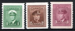 Canada 1943 Y.T.205aB,206aB,208aB MNH/** VF/F - 1937-1952 Regno Di George VI