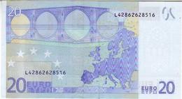 (Billets). 20 Euros 2002 Serie L, R026H3, N° L 42862628516,  Signature 3 Mario Draghi UNC - EURO