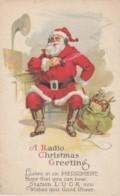 Merry Christmas, 'Radio Christmas Greeting' From Santa, C1920s Vintage Postcard - Santa Claus