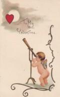 HB Griggs 'HBG' Artist Signed Valentine's Greetings, Cupid Looks Through Telescope, Doane Cancel C1900s Vintage Postcard - Valentine's Day