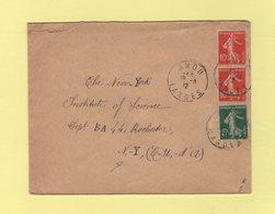 Type Semeuse - Destination Etats Unis - Amou Landes - 1912 - Poststempel (Briefe)