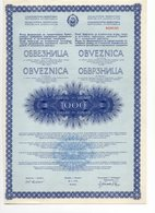 YUGOSLAVIA, 1972  GOVERNMENT BOND FOR DEVELOPMENT OF KOSOVO REGION, 1000 DINAR - Old Paper