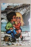 """CPSM Illustrateur Michel THOMAS Enfants Titis Beau Petit Couple D'enfants """"LE PREMIER BAISER"""" - Illustrateurs & Photographes"""