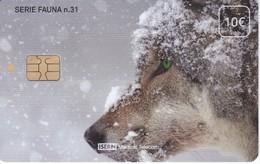 ISN-255 TARJETA DE ESPAÑA DE ISERN DE 10 EUROS DE LA SERIE FAUNA Nº31 (LOBO-WOLF) - Télécartes
