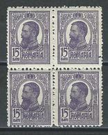Rumänien Mi 224 Bloc Of 4 **/* MNH/MH - 1881-1918: Charles Ier