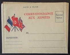 Carte-Lettre De Franchise Militaire Illustrée Trois Drapeaux Dont TUNISIE - Cartes De Franchise Militaire