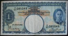 Malaya 1 Dollar 1941, VF. - Bankbiljetten