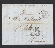 Lac De Lyon Vers L' Isle Sur La Sorgue  TAD 23/4/1852 Taxe Tampon 25 - Postmark Collection (Covers)