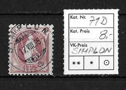 1882-1907 Stehende Helvetia → SBK-71D Rundstempel SIMPLON - 1882-1906 Armoiries, Helvetia Debout & UPU