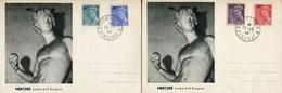 """CP's De 1944 Avec Timbres De Type """"MERCURE"""" Surchargés """"RF"""" - Oblit. BORDEAUX 15-12-44 - 1938-42 Mercure"""