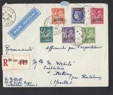 Enveloppe Avec Correspondance Recommandé Par Avion De Sidi Bel Abbes  Timbres Surchargés TAD Du 8/6/1946 Vers Metting - Algérie (1924-1962)