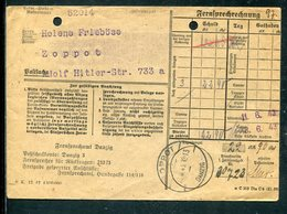 "Danzig / 1943 / Brief ""Fernsprechamt"" Steg-Stempel ZAPPOT, Rs. Werbung Ideal-Schreibmaschinen (12652) - Danzig"