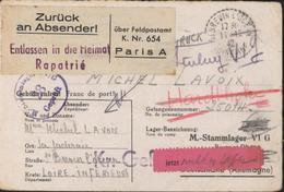 Formulaire Stalag VIG Bonn Rare Vignette Retour Entlassen In Die Heimat Rapatrié Zuruck An Absenderl Uber Feldpostamt - Marcophilie (Lettres)
