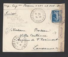 Semeuse 25c Bleu Sur Devant D' Enveloppe Trésor Et Postes 508A Et 502 Régiment D' Orient 8/5/1916 Vers Suisse - Marcophilie (Lettres)