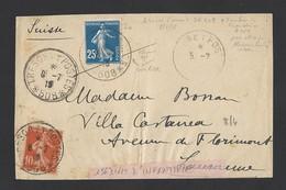 Semeuse 25c Bleu Et 10c Rouge Sur Devant D' Enveloppe Trésor Et Postes 508 Régiment D' Orient 8/7/1915 Vers Suisse - Marcophilie (Lettres)