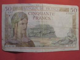 Billet FRANCE 50 Francs Cérès 1935 - 1871-1952 Anciens Francs Circulés Au XXème