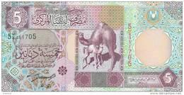 LIBYA 5 DINARS 2002 P-65a SIG/4 ZILITNI UNC */* - Libië