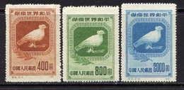 CHINE - 861/863(*) - COLOMBE DE LA PAIX - 1949 - ... République Populaire