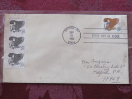 USA 1992 FDC Cover Dayton - Eagle - Unperf. - Value In Green - Etats-Unis