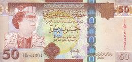 LIBYA 50 DINARS 2008 2009 P-75 SIG/7 BENGADARA AU-UNC GADDAFI PORTRAIT AU */* - Libye