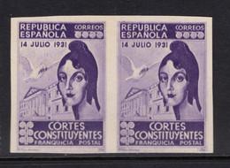 España 1931. Variedad. Franquicia Postal Cortes Constituyentes. Ed 20 SD Pareja. MNG. (*). - Franquicia Postal