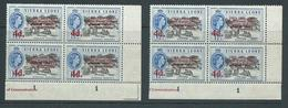 "Sierra Leone 1963 Postal Anniv. 4d  "" Asterisk For Hyphen "" Variety MNH In 2 Plate # Blocks Showing Different States Of - Sierra Leone (1961-...)"