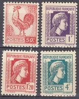 FRANCE - 1944 - Lotto Di 4 Valori Nuovi MNH: Yvert 633, 637, 638 E 643. - Unused Stamps