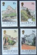 ALDERNEY 1986 FORTS SET OF 4 VALUES MNH A28-A31 GROSNEZ TOURGIS CLONQUE ALBERT - Alderney