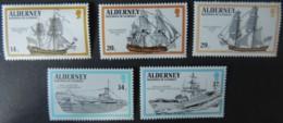 ALDERNEY 1990 ROYAL NAVY SHIPS SET OF 5 VALUES MNH A42-A46 SAILING GALLEONS WARSHIPS SUBMARINE FRIGATE KETCH - Alderney