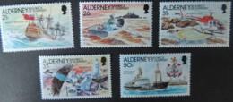 ALDERNEY 1991 CASQUETS LIGHTHOUSE SET OF 5 VALUES MNH A47-A51 GALLEON HELICOPTER BIRDS SHIPS - Alderney