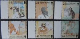 ALDERNEY 1996 CATS 6 VALUES MNH A90-A94 ANIMALS BUTTERFLIES - Alderney