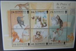 ALDERNEY 1996 CATS MINIATURE SHEET 6 VALUES MNH MSA95 ANIMALS BUTTERFLIES - Alderney