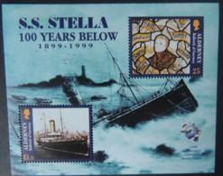 ALDERNEY 1999 WRECK OF SS STELLA MINIATURE SHEET 2 VALUES MNH MSA124 DISASTERS - Alderney