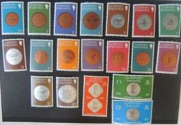 GUERNSEY 1979 DEFINITIVES COINS 19 VALUES INCLUDES £1 AND £2 (SEE SCAN) MNH - Guernsey